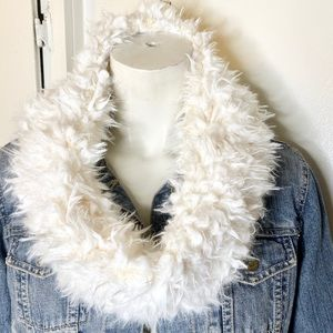 NWT Justice Off White Faux Fur Infinity Scarf